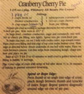 My original recipe for Cranberry Cherry Pie.