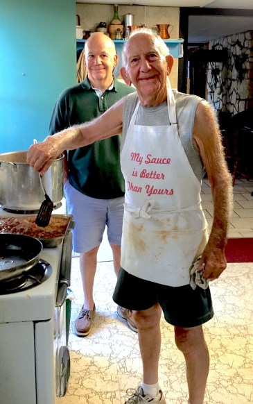 edited Uncle Richard in sauce stained apron