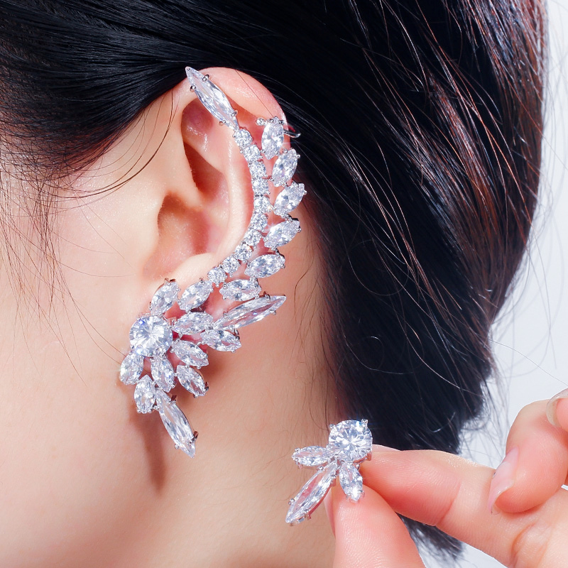 Designer Asymmetric Feather Shaped Long Big Ear Cuff Stud Earrings