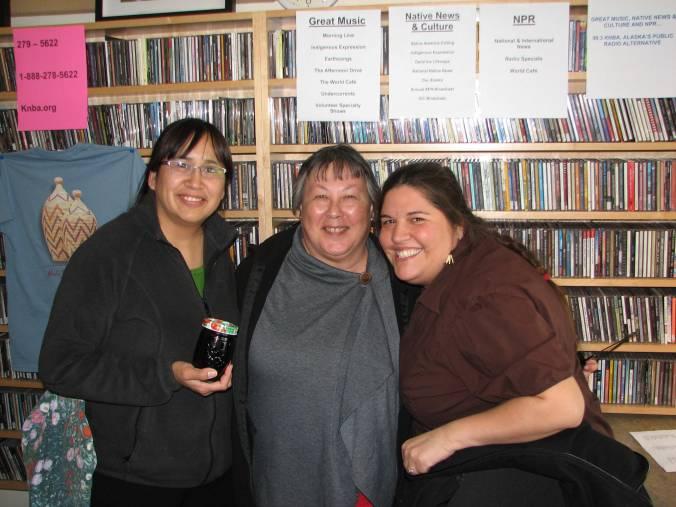 Angela Gonzalez, Lisa Nason (KNBA Board Member) and Shyanne Beatty at the KNBA Studio.