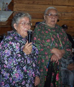 Catherine Attla and Rose Ambrose at a potlatch in Huslia in 2007. Photo by Angela Gonzalez