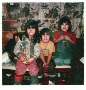 Angie (7), Al Jr. (5) and Tanya (6) in Huslia in the early 80s. Photo taken in Huslia by Eleanor Yatlin