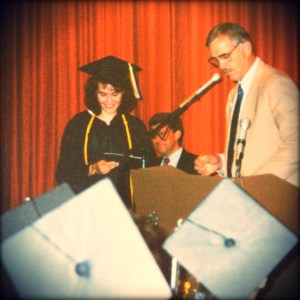 Mary Lou Rock accepts a diploma from RAHI in 1991. Photo by Angela Gonzalez