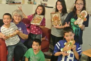 Josephine Semaken enjoyed making gingerbread men with her grandchildren in Anchorage. Courtesy photo