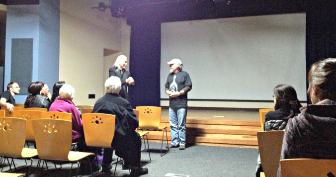 Pius Savage and Ralph Liddle answer questions at an event at the Alaska Native Heritage Center. Photo by Angela Gonzalez