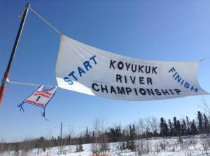 The start and finish line of the Koyukuk River Championship dog races. Photo by Danielle Ballard Huffman