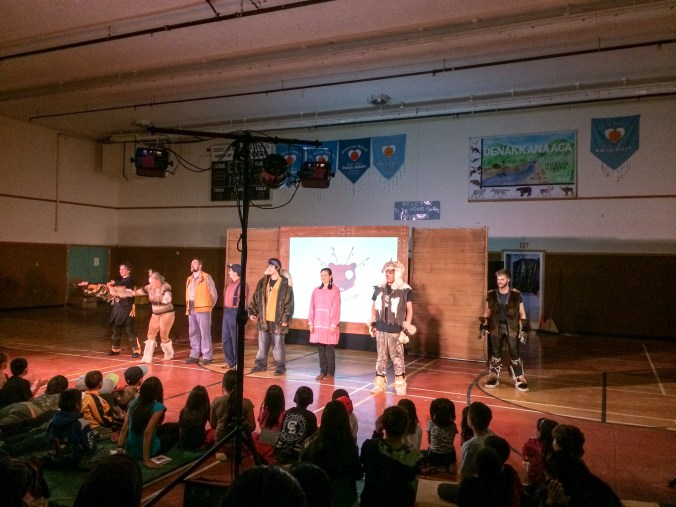 Huslia residents give the cast and crew of the Winter Bear play a standing ovation. Photo by Angela Gonzalez