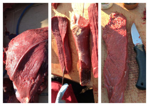 You start with a chunk of meat, then start cutting them into smaller pieces. Photos by Josephine Derendoff of Huslia