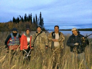 Many people hunt and fish along the Koyukuk River. Here is a photo of Solomon Yatlin, Janessa Gonzalez, Sarbelio Gonzalez, Ross Sam and Al Yatlin, Jr. in September, 2014. Photo by Angela Gonzalez