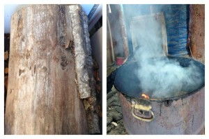 Old cottonwood is used to smoke dried moose meat in the interior. Many residents make homemade stoves to cook and smoke meat and fish in their smokehouses and camps. Photos by Josephine Derendoff in Huslia