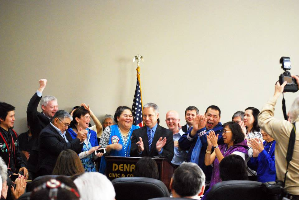 Cheers all around during after an Alaska Native languages HB 216 was signed into law by the governor on October 23 in Anchorage. Alaska Native languages are officially recognized in the state of Alaska. Photo by Angela Gonzalez