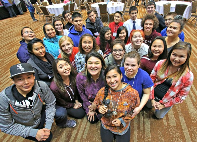 Youth Ambassadors and Emcees at the First Alaskans Institute's Elders & Youth Conference. Allison Warden and Marjorie Tahbone (both in front) mentored the youth. Photo by Roy M. Corral