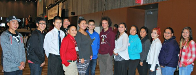 Volunteer emcees at the First Alaskans Institute's Elders & Youth Conference. Photo by Angela Gonzalez