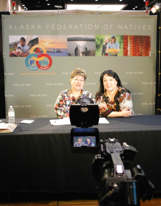 Sharon McConnell and Anna Sattler behind the scenes at the broadcast of the Alaska Federation of Natives Convention. Talking Circle Media broadcasted the AFN proceedings statewide. Photo by Angela Gonzalez