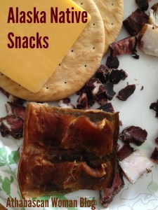 Alaska Natives enjoy cheese on Pilot Bread crackers, dried moose meat and dried salmon. Photo by Angela Gonzalez