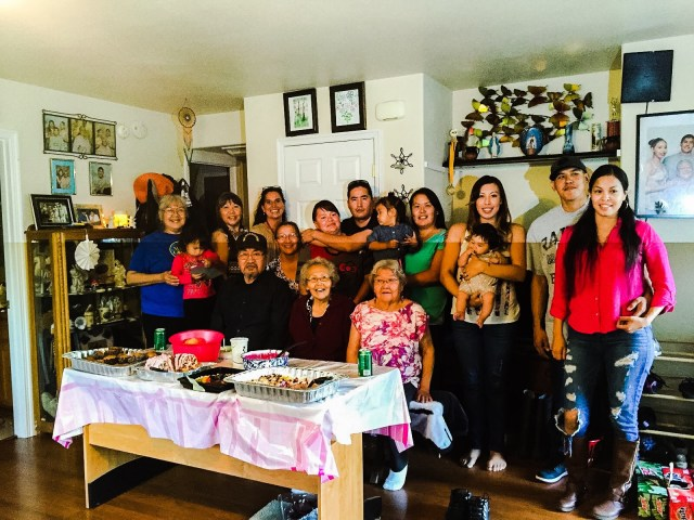 Mary St. Martin-Charles's birth family gather for dinner in Koyukuk. Courtesy photo