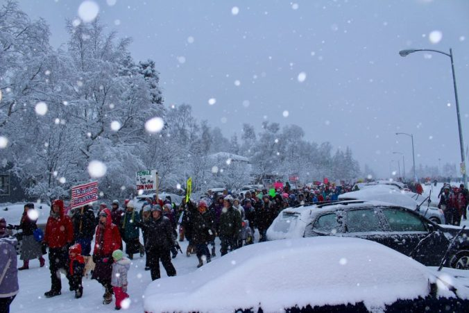 Approximately 2,000 people attended the Woman's March on Anchorage. Photo by Angela Gonzalez