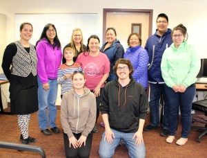 Denaakk'e language class attendees in Fairbanks. Photo by Marjorie Kunaq Tahbone