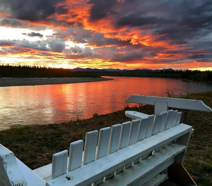 A bench at the Koyukuk River at Evansville. Photo by Sheryl Meierotto