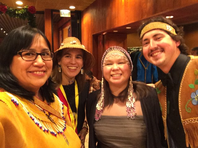 I attended the First Alaskan Institute's Smokehouse Gala in 2015. L-R: Me, Karla Booth, Tiffany Flowers and Dewey Kk'ołeyo Hoffman. Photo by Angela Gonzalez