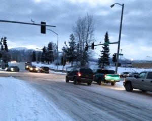 The streetlights were out and the traffic was slow near East High School after the 7.0 earthquake hit in Anchorage on November 30. Photo by Angela Gonzalez