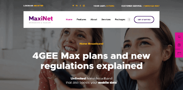 MaxiNet isp wordpress theme