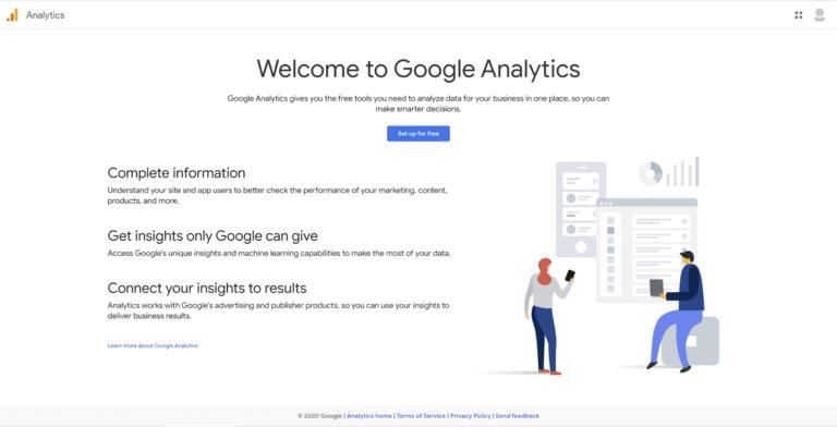 A página inicial do Google Analytics.