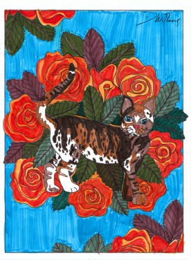 """Lineart by Robyn Henoch. From the coloring book """"Inkspirations for Cat Lovers"""