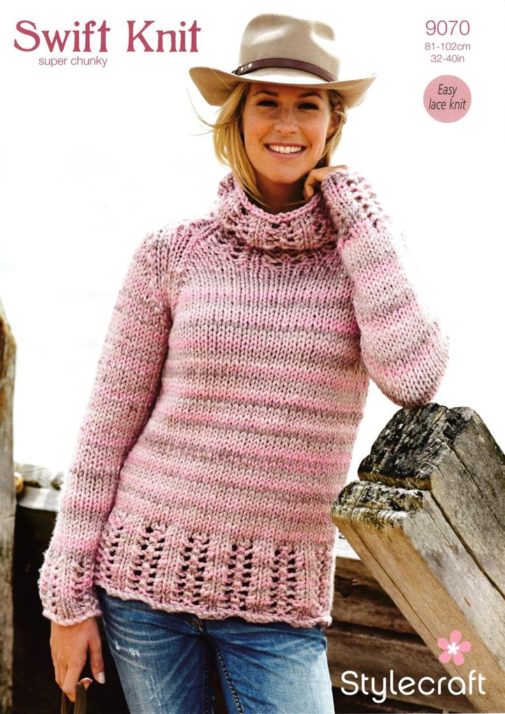 Stylecraft 9070 Knitting Pattern Ladies Sweater In Swift