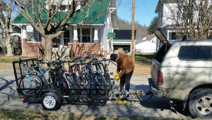 Trailer loaded with donated bikes to be repaired