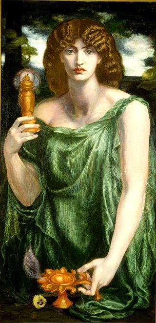 Mnemosyne (color) Rossetti Mnemosyne (1881), a Pre-Raphaelite interpretation of the goddess by Dante Gabriel Rossetti