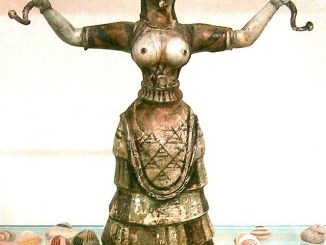 Snake Goddess or a priestess performing a ritual.