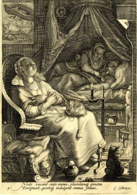 Ekirch argues that this British engraving by Jan Saenredam from the late 1500's is evidence of biphasic sleep patterns |