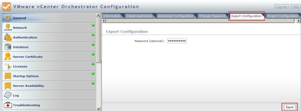 vCO Export Config
