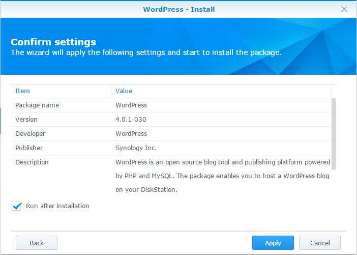Wordpress - Confirmation screen