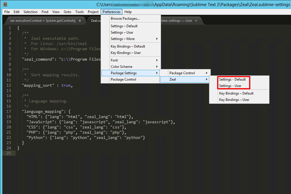 Zeal - Sublime Text Settings