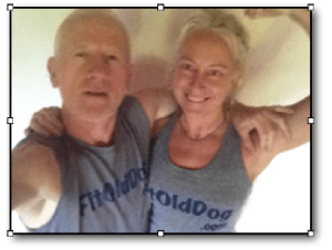 Rebecca and FitOldDog in FitOldDog Tees; fixed my plantar fasciitis