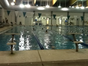 Sometimes you have to share the pool with the local school swim teams, in this case The Chapel Hill High School