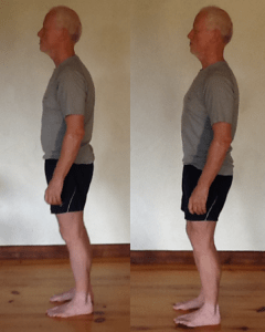 Left: posture before Continuum session, head and shoulders forward, belly out, and leaning forward; Right: improved posture after Continuum session.