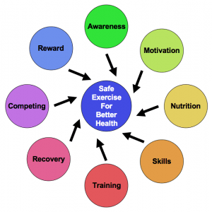 The FitOldDog Safe Exercise Wheel runs clockwise, starting at the top, with reward or celebration as a critical final component of each cycle.