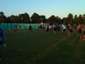 PortaPotty line at the 2012 Eagleman Half Ironman