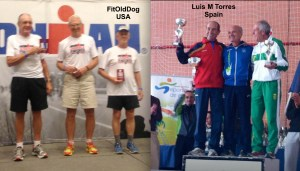 Luis M Torres and FitOldDog on the podium after a successful race.