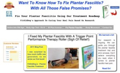 FitOldDog's plantar fasciitis landing page at fitolddog.com