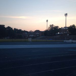 Older athletes; evening track run.