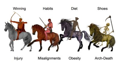 Aging mobility; four horsemen, winning, habits, diet, shoes