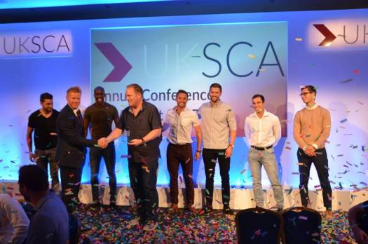 Des and colleagues accepting the award for UKSCA S&C Employer of the year 2017
