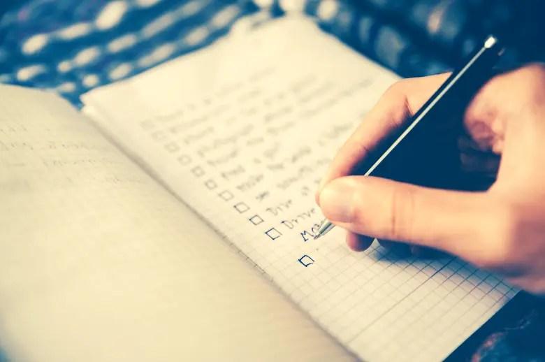 checklist for running