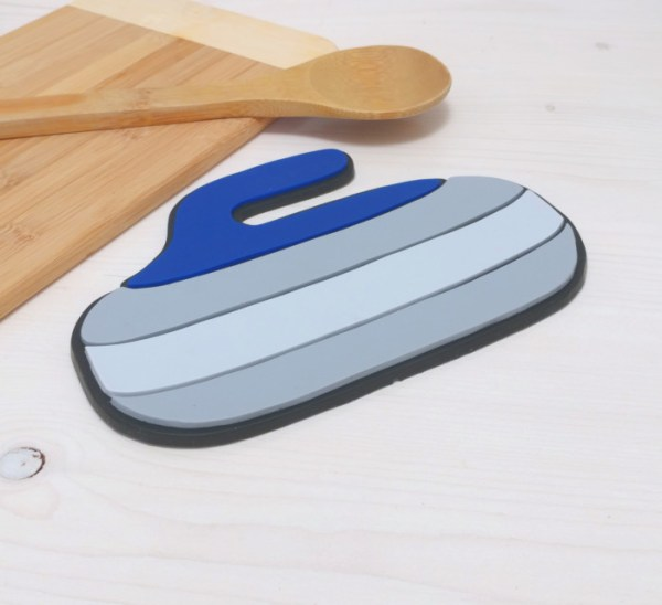 Curling Rock Trivet Hot Pad Sports Kitchen Decor Spoon Rest Silicone