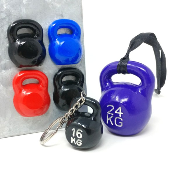 Kettlebell Gift Pack Fridge Magnet Keychain Christmas Ornament Crossfit Powwerlifting Bodybuilding Weightlifting Birthday Gym Bag Accessory