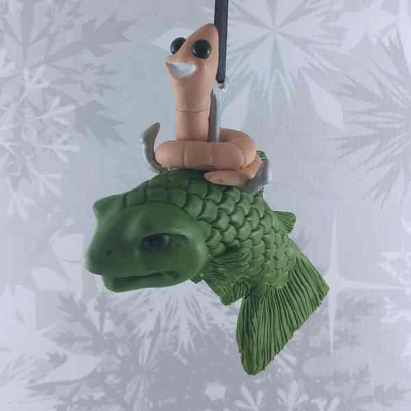 Worm Riding a fish fisher fishing funny comedy christmas ornament bait
